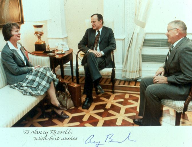 Nancy Russell's lobbying for Gorge protection included a meeting with Vice-President George H.W. Bush. (Friends' photo archive)