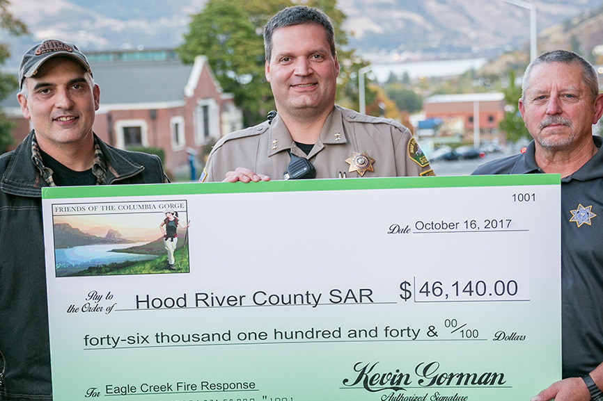Hood River County Presented With $46,140 Gift in Honor of Wildfire Heroes
